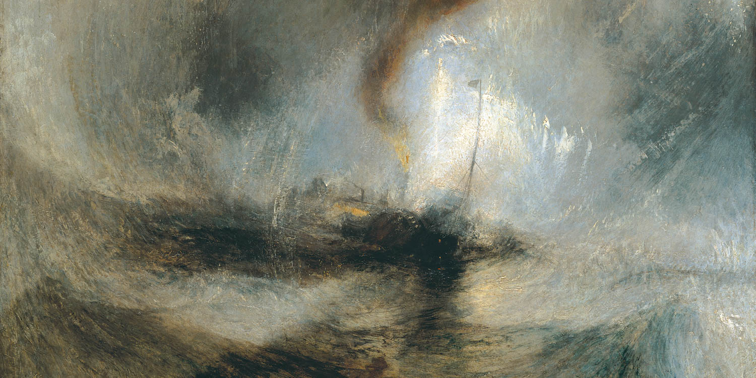 "Snow Storm: Steam-Boat off a Harbour's Mouth"" Painting by J. M. W. Turner, 1842."
